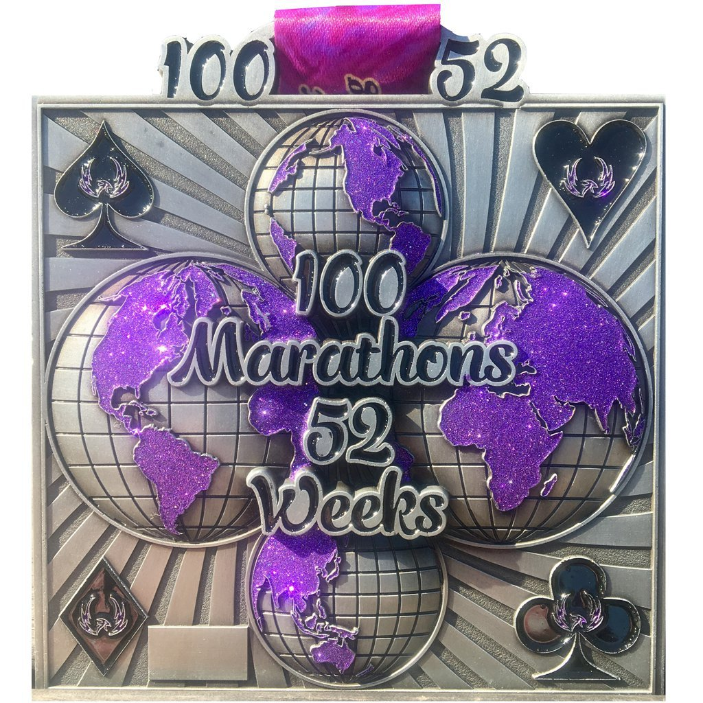 100 Marathons in 52 Weeks - Medal & Certificate
