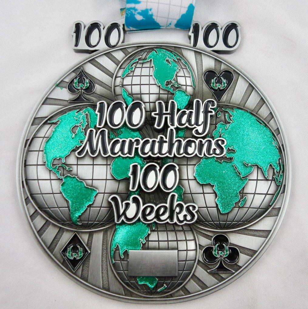 100 Half Marathons in 100 Weeks - Medal & Certificate
