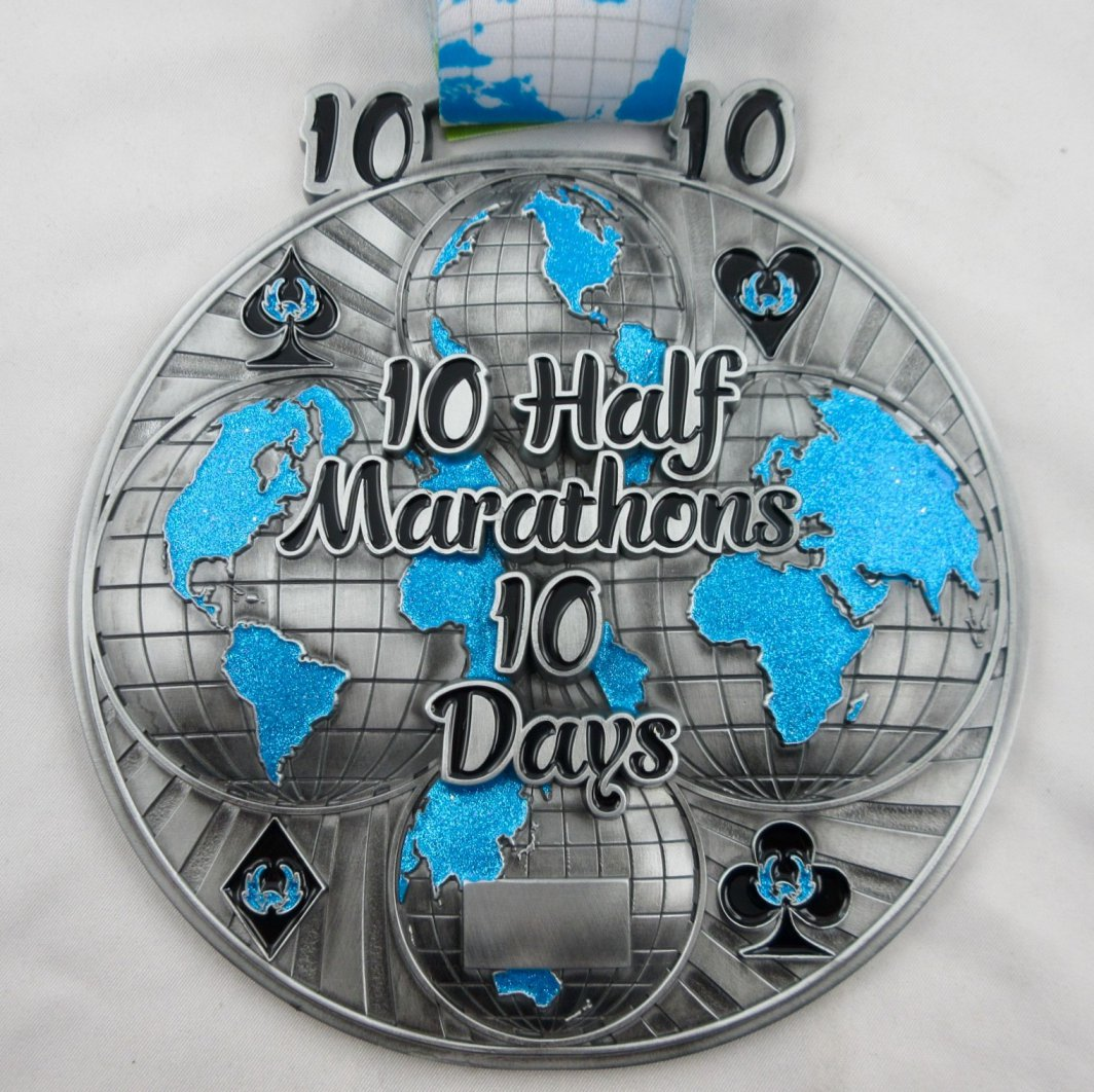 10 Half Marathons in 10 Days - Medal & Certificate