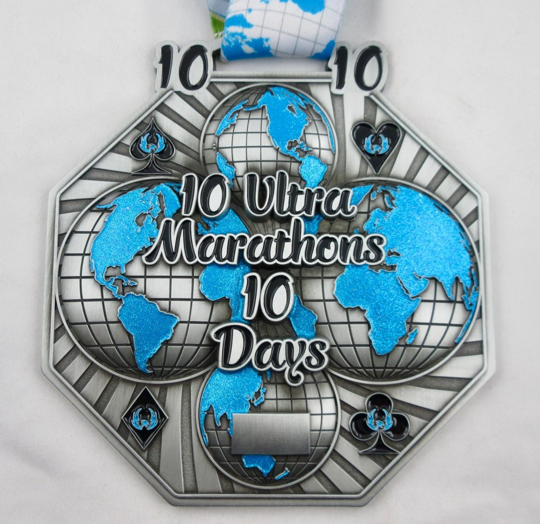 10 Ultra Marathons in 10 Days - Medal & Certificate