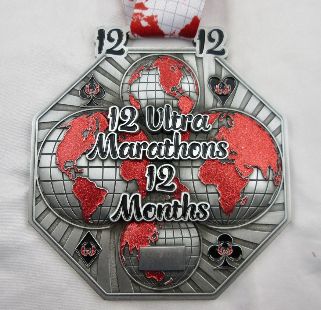 12 Ultra Marathons in 12 Months - Medal & Certificate
