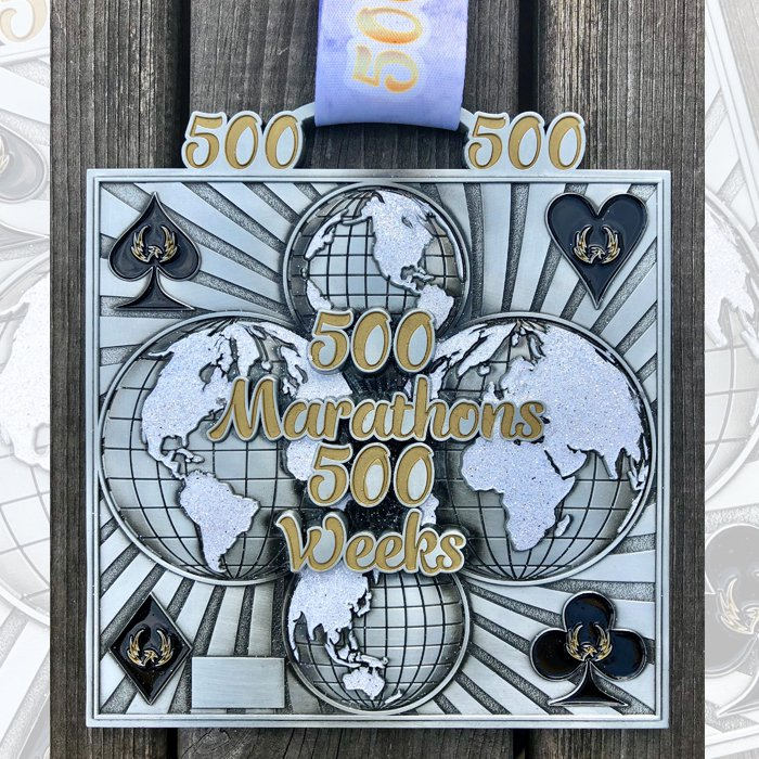 500 Marathons in 500 Weeks - Medal & Certificate